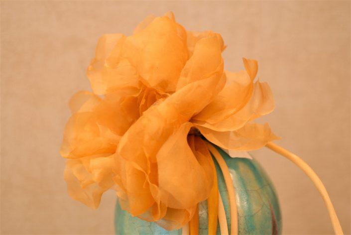 Maxi fiore giallo in seta